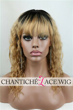 6A Ombre Dark Roots Blonde African American Celebrity Human Hair Lace Front Wigs