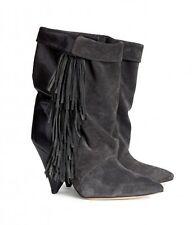 NIB AUTH ISABEL MARANT H&M HM DARK GRAY SUEDE LEATHER FRINGE BOOTS SHOES 39 8 6