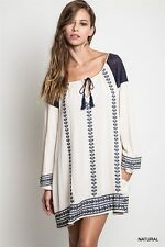 Umgee Off White Navy Embroidered Bohemian Bell SleeveTunic Dress S M L