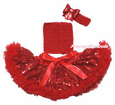 Hot Red Crochet Tube Top Newborn Baby Sparkle Bling Sequins Pettiskirt Set NB-3Y