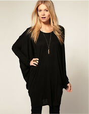 Women Fashion Batwing Loose Long Sleeve Tops Casual Jumper Oversize T-Shirt