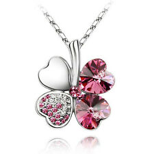 Hot Women Happiness Clover Crystal Pendant Chain Necklace Lucky Valentine Gifts