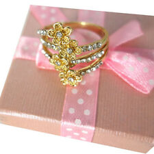 Pretty Women Gold Plated Crystal Rhinestone Flower Shape Party Jewelry Ring Gift