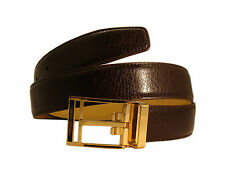 Marco Valentino Elegant Dressy Belt Brown Leather Gold Buckle New Style For Men