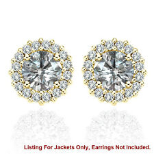 Halo Jackets for 1 Ct Total Weight 5MM G-H Diamond Stud Earrings 14K Yellow Gold