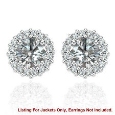 Halo Jackets for 2 Ct Total Weight 6MM G-H Diamond Stud Earrings 14K White Gold