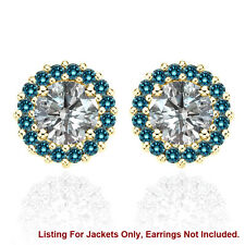 Halo Jackets for 1 Ct Total Weight 5MM Blue Diamond Earrings 14K Yellow Gold