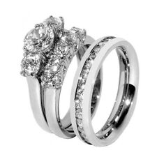 His Hers 3 PCS Stainless Steel Her Wedding Ring Set and Mens All Around CZ Band