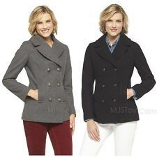 NWT Merona Women's Double Breasted Peacoat Wool Jacket Stylist Coat Gray/Black S