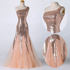 Bling Bling Long Prom Party Wedding Bridesmaid Ball Gown Formal Evening Dresses