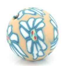 Wholesale HOT!Polymer Clay Beads Flower Pattern Round Ball Multicolor 10mm