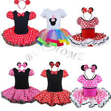 2Pcs Fancy Kid Girl Baby Minnie Mouse Party Costume Ballet Tutu Dress + Headband