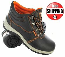 MENS SAFETY TRAINER STEEL TOE CAP WORK LEATHER BLACK ORANGE MIDSOLE SHOES SIZE