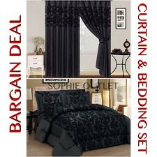 Bargain Deal Damask 4 Pcs Complete Bedding Set With Pair Of Flock Curtain BLACK