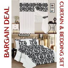 Bargain Deal Damask 4 Pcs Complete Bedding Set With Pair Of Flock Curtain WHITE
