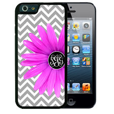 MONOGRAMMED iPHONE 6 or 6 Plus CASE RUBBER COVER GRAY CHEVRON PURPLE FLOWER