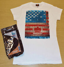 BRAND NEW LADIES SPACE INVADERS USA FLAG T-SHIRT WHITE SIZES: SMALL to X-LARGE