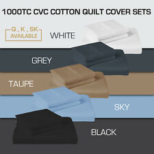 1000TC CVC COTTON QUEEN/KING/SUPER KING QUILT COVER+PILLOWCASE SET