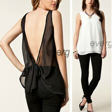 2015 Women Loose Casual Solid Chiffon Sleeveless Vest Blouse T-Shirt Excellent