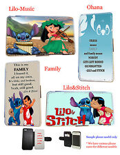 Lilo and Stitch Ohana quotes leather card phone case for HTC,Xperia,Nokia,LG G3