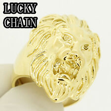 MEN`S STAINLESS STEEL GOLD LION HEAD RING 18g G66