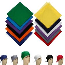 100% Cotton Sport Outdoor Plain Bandana Head Wrap Handkerchief Solid Scarf
