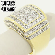 MEN`S 14K GOLD FINISH ICED OUT LAB DIAMOND RING 23g G69