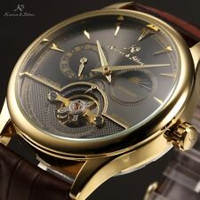 USA KS Small Second Hand 24 Hours Automatic Mechanical Leather Mens Sport Watch