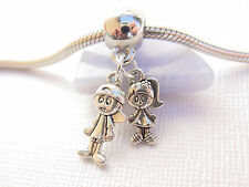 Silver Boy Girl Brother Sister Siblings Twins Lovers Dangle Charm fits Bracelets