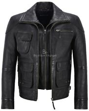 Classic Biker Men's M-139 Black Wax Soft Nappa Real Leather Double Zip Jacket