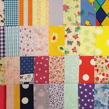"Fabric Remnant Squares 4"" & 5"" Various Designs Craft Patchwork Quilting"