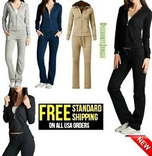 2 Piece PLUS SIZE Womens Hoodie French Terry Track Suit W/ Studded Along Zipper
