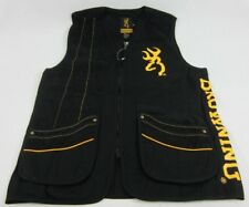 Mens NWT Black Team Browning Shooting Vest Buckmark Black Gold S M L XL 2XL 3XL
