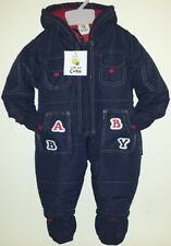 Kids Baby Babies Boys Snowsuits All In One Padded Fleece Lined Snug And Warm New