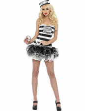 Womens Convict Costume Prisoner Fancy Dress Sexy Ladies Adult Robber Outfit