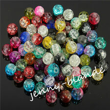 Wholesale Round Clear Crackle Art Crystal Glass Charm Bead Finding 4/6/8/10/12mm