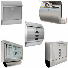Stainless Steel Mailbox Letterbox Postbox with Newspaper Slot new