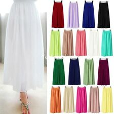 Hot Women Ladies Chiffon Elastic Waist Double Layer Long Maxi Pleated Skirt