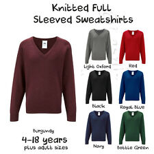 Boys GirlsSchool Jumper Knitted Sweatshirt V Neck Ages 4-18 + Adult Sizes