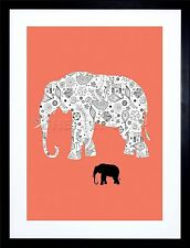 PAINTING ABSTRACT ELEPHANT DESIGN INSET OBJECTS VECTOR PRINT FRAME F12X649