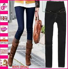 New Blue Under Over Bump Skinny Denim Maternity Jeans Pregnancy Trousers -B005