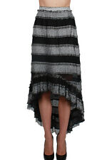 A'reve BLACK STRIPED HIGH-LOW MAXI SKIRT WITH LACED BOTTOM LINING Areve A reve