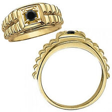 0.5 Carat Black Diamond Fancy Solitaire Nugget Mans Promise Ring 14K Yellow Gold