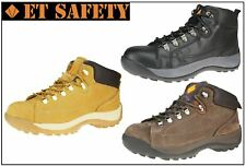ET Safety Lace up Black Tan Brown Leather Steel Toecap Work Trainer Boots