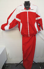 RED WHITE WINDBREAKER SET WARM UP TRACK JOGGING WORKOUT LIGHT WEIGHT SUIT NEW