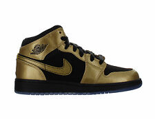 Kids Air Jordan 1 Mid (GS) Metallic Gold Coin Black 555112-905