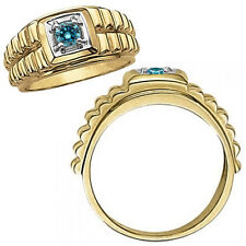 0.50 Carat Blue Diamond Fancy Solitaire Nugget Mans Ring 14K White Yellow Gold