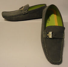 Mens Loafers w/ Nice Silver Buckle Soft Suede-Look and Feel Cool Grey Moc5-Gray