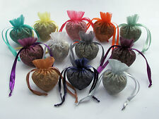 10 Heart shaped Organza Bags with 100g dried lavender sachets room fragance gift