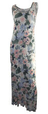 New Look Pink & Green Floral Print Stretchy Maxi Dress Sleeveless size 10